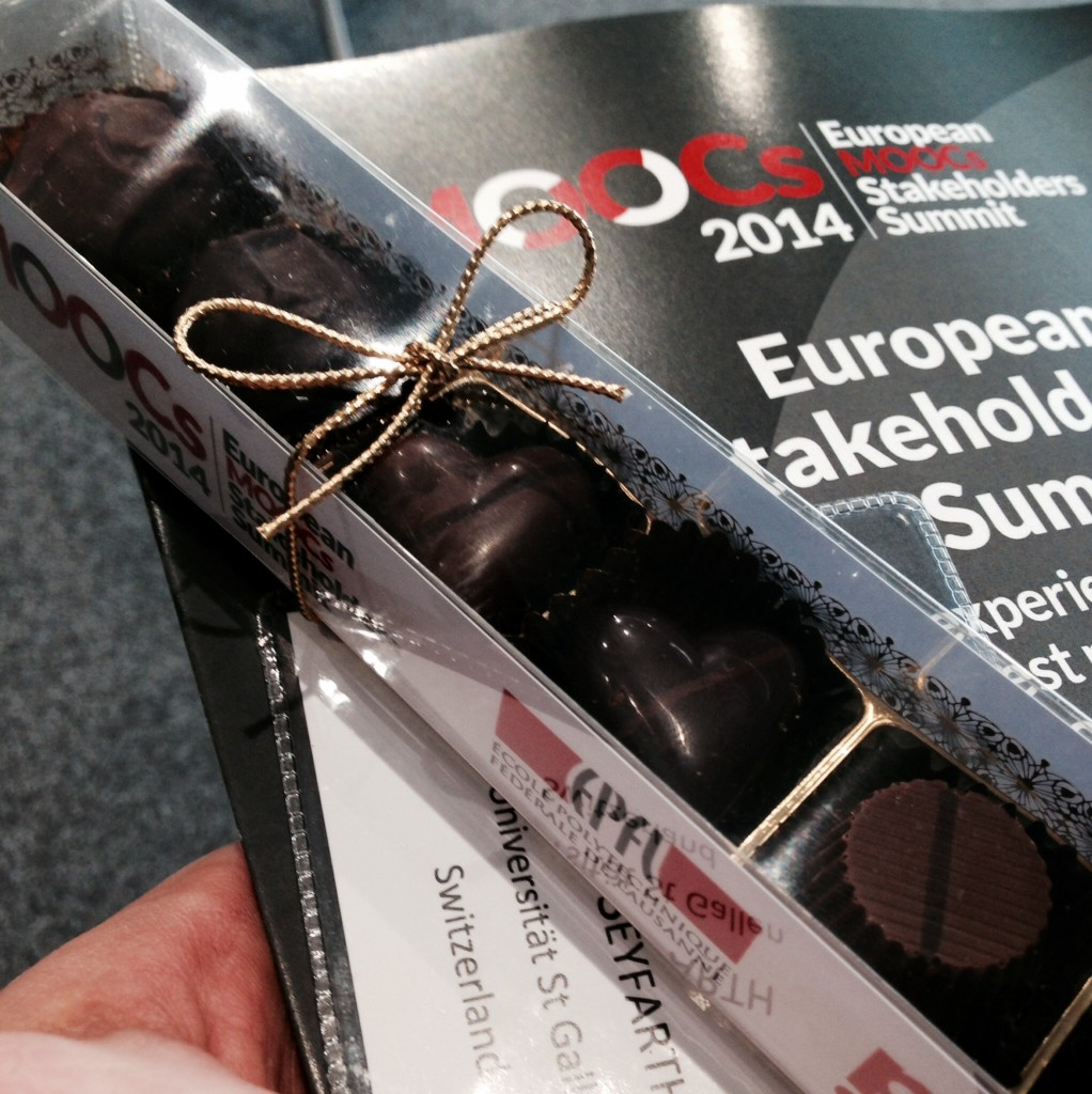 A sweet idea: The EMOOCs 2014 conference package included hand-crafted Swiss chocolate treats, yum.